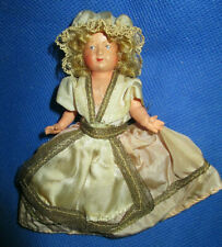 """Antique 30's Celluloid 4"""" Jtd Miniature Dollhouse Doll Signed France - 1 Owner"""