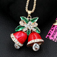 Betsey Johnson Red Enamel Crystal Christmas Bell Pendant Long Chain Necklace