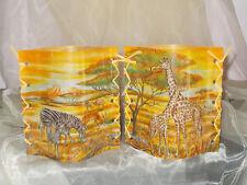 2 Deko Windlichter Tiere Afrikas Giraffen Zebra Tischlicht Geschenkidee