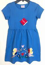 NEW HANNA ANDERSSON Girls Applique Garden Flower Fairy Art Dress Blue 130 US 8