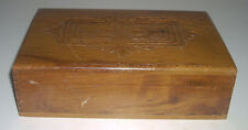 Vintage Hardwood Wooden Box with Beautiful Grain & Intaglio Designs on Lid