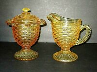 "VINTAGE IMPERIAL TOPAZ DEPRESSION GLASS ""BASKET WEAVE"" SUGAR & CREAMER"