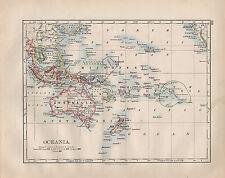 1902 Vittoriano Mappa Oceania ~ Polinesia Micronesia filippino isole possedimenti
