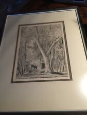 "Vintage listed French artist HERMINE DAVID Etching engraving ""La Foret de Melun"""
