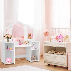 2 in 1 Kinder Schminktisch Schreibtisch mit Spiegel Frisiertisch Frisierkommode