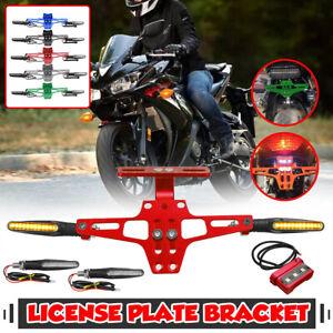 CNC Motorcycle Rear License Plate Mount Fender Holder w/ 4 Turn Signal Light