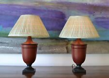 A Pair of Jane Churchill Urn Shape Pottery Brass Hall Bed Side Table Lamps