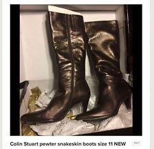 Colin Stuart Pewter Snakeskin Print Boots 11