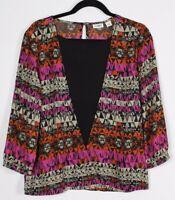 Cato Women's Tribal Print Semi Sheer Blouse Keyhole Long Sleeve Size Medium