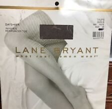 LANE BRYANT TAUPE Sheer Invisible Reinforced Toe PANTYHOSE Size E 250-300lbs