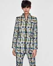 Zara Floral Jacquard Check Blazer Jacket Size 10 12 M