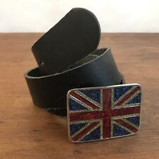Leather Belt with Bling UK British Flag Buckle Mens Size M/L