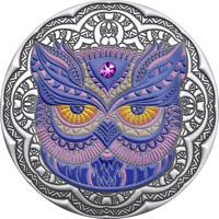 2020 Niue $5 Mandala Owl 2 oz .999 Silver Proof Coin w/Gemstone - Mintage 500