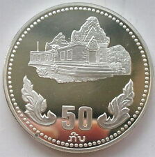 Laos 1985 Temple 50 Kip Silver Coin,Proof