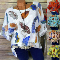 Women Plus Size Feater Print 3/4 Sleeve Baggy Loose Pullover Top Shirt Blouse