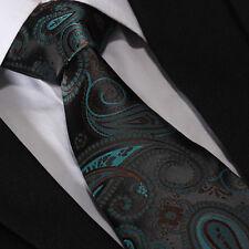 Mens Luxury Tie Wedding Groom Bridal Turquoise Black Brown Green Paisley Floral