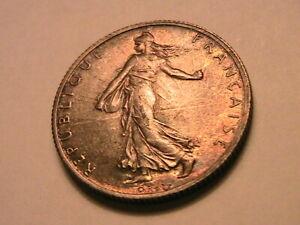 1919 France 2 Francs Original Gem BU Lustrous Color Toning French Two Franc Coin