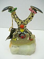 Ron Lee Hand Painted 24k Gold Plated Clown Sculpture Doing Headstand Onyx Base