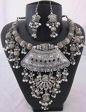 Statement Bib Choker Necklace Earring Tribal Kuchi Banjara Gypsy Boho BellyDance