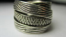 STERLING SILVER 925 ESTATE BH EFFY .5 CARAT DIAMOND CROSSOVER BAND RING SIZE 8.5