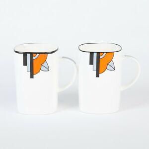 "Pair of Art Deco Bone China Square Mugs in the ""Ritzy"" Orange Design"