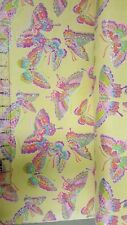 Fabric Traditions Flannel Glitter Butterfly Yellow Cotton fabric by the yard