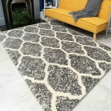 Modern Thick Grey Trellis Shaggy Rugs   Moroccan Living Room Rugs   Super Soft