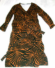 Hobbs Riley Dress leaf print brown jersey wrap style knee length Size 14 New