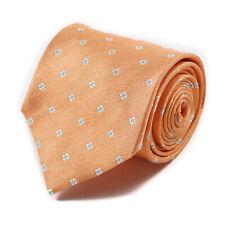 Borrelli Napoli 7-Fold Orange and Blue Mini Floral Jacquard Silk Tie