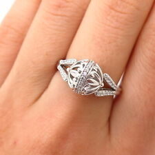 925 Sterling Silver C Z Ball Design Ring Size 7