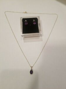 "10k Yellow Gold Amethyst And Diamond 19"" Necklace And Earrings Set LOT G70"