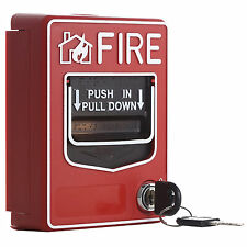 Wired Call Point Fire Reset Push In Pull Down Emergency Alarm Station Key Lock;