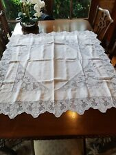 Antique 1920's 115cm White Mary Card ? Pansy Filet Crochet Linen Tablecloth