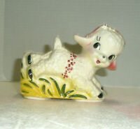 Vintage Figural EASTER Planter Lamb Romps in Grass