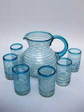 Mexican Glassware - Aqua Blue Spiral pitcher and 6 drinking glasses set
