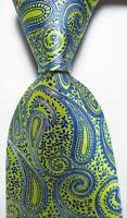 New Classic Paisley Blue Yellow JACQUARD WOVEN 100% Silk Men's Tie Necktie