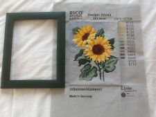 Sunflowers Still Life Tapestry RICO DESIGN 22243 with original green frame