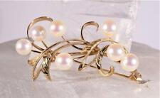 Vintage Pearl Pin Brooch Set in 14K Yellow Gold