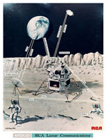 NASA 1969 Apollo 11 Moon Mission Landing Lunar Comms Concept Art Print Space