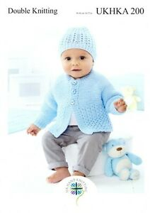 "UKHKA 200 Baby Cardigan Hat & Cushion Knitting Pattern In DK 14-22"" (36-56cm)"