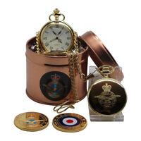 RAF Pocket Watch Engraved Badge PERSONALISED  Luxury Royal Air Force Coin Set
