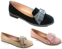 NEW WOMENS LADIES FLAT CREEPER CHUNKY WORK DOLLY SLIP-ON LOAFERS BOW SHOES SIZE