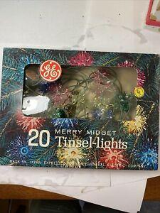 Vintage GE Merry Midget Tinsel Lights Box of 20 Christmas Decorations Working