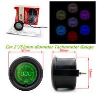 """Metal 7 Colors 2"""" 52mm Car Tachometer Gauge Digital RPM LED Light Meter Pointer"""