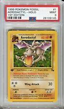 PSA 9 MINT Pokemon 1st Edition AERODACTYL Holo Rare Fossil 1/62 1999