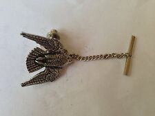 B15 Stooping Falcon Tie Pin With Chain english pewter handmade in sheffield