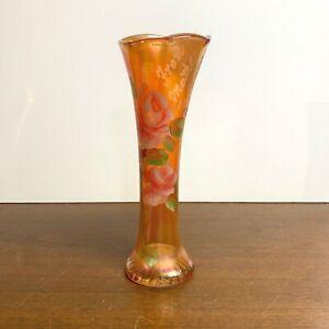 Antique Marigold Carnival Glass Vase Hand Painted Batavia Fair 1921