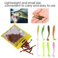 50pcs T-Tail Fishing Lures Bait 5cm 38g Soft Plastic Grub Worm Artificial Tackle