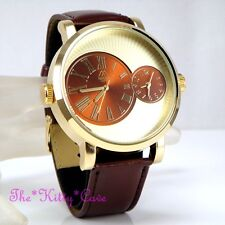 Designer Gold & Brown Leather Dual Time 2 Twin Zone Double Dial Big Sunray Watch