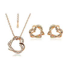 Gold & White Heart Crystal Bridal Jewellery Set Stud Earrings & Necklace S470